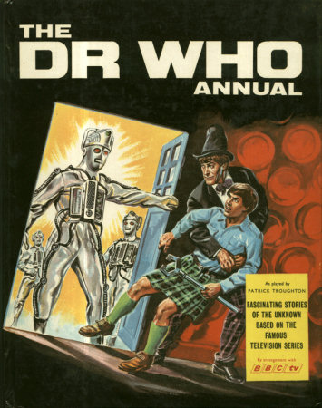 Cover Painting Of The Second Doctor And Jamie Confronted By Cybermen In TARDIS Doorway Text Stories Lords Galaxy
